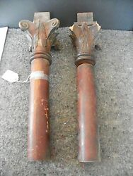Pair Of Antique Columns With Corinthian Caps As Is 2195