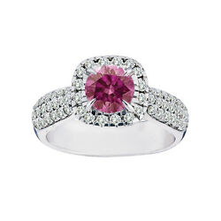 1.75 Ct Solitaire Pink Diamond Fancy Band Ring14k Wg Hpht Valentine Day Spl.sale