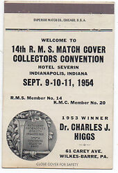 1954 Matchbook Cover 14th Match Cover Collector's Convention Indianapolis