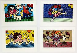 Romero Britto Seasons Of Miracles   Suite Of 4 Signed Prints   Make An Offer