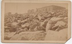 1890s Cabinet Card Photo Of Building And Train At Summit Of Pikes Peak Colorado