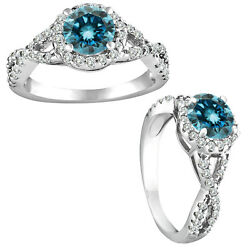 1.5 Carat Blue Si2 Round Diamond Solitaire Bridal Fancy Halo Ring 14k White Gold