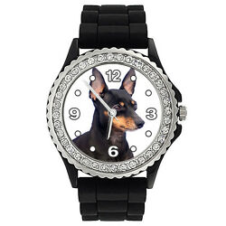 Black & Tan English Toy Terrier Dog Crystal Jelly Silicone Wrist Watch SG124P