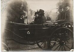 Large Wwi Photo Of Woodrow Wilson's Wife In Carriage In Italy