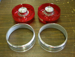 Nos 1958 1959 Ford Thunderbird T-bird Tail Light Lenses + Trim Rings Glo-brite