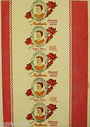 Vintage Bread Wrapper Mothers Woman Pic Huffman Nappanee Indiana New Old Stock