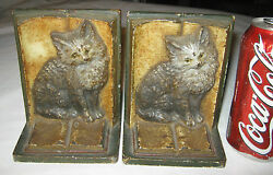 Antique Usa Bradley Hubbard Cast Iron Cat Kitten Toy Book Art Statue Bookends Bh