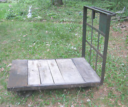 Antique Usa Industrial Factory Garden Wood Cast Iron Wheel Trolley Plant Cart Ct