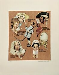 Norman Rockwell The Golden Age 1973   Signed Print   Poor Richardand039s Almanac