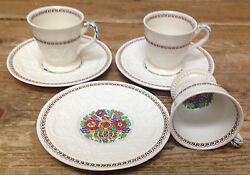 Wedgwood Windermere Multicolor Patrician Ak7868 3 Demitasse Cup And Saucer Sets
