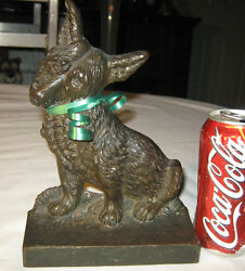 ANTIQUE B&H BRADLEY HUBBARD TOTO CAIRN TERRIER CAST IRON DOG ART STATUE DOORSTOP