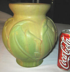Antique Roseville Arts And Crafts Early Velmoss Art Pottery Mission Flower Vase