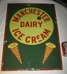 Antique Lg Manchester Ice Cream Waffle Cone Cow Milk Dairy Art Porcelain Sign