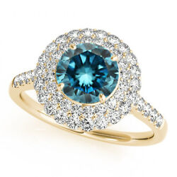1.58 Cts Blue And White Diamond Solitaire 14k White Gold Gorgeous Bridal Halo Ring