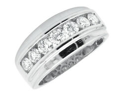 Menand039s 14k White Gold One Row Channel-set Grooved Diamond Wedding Band Ring 1.5ct