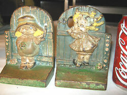 Antique Hubley Gd Raggedy Ann Andy Cast Iron Flower Toy Art Statue Book Bookends
