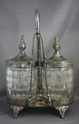 Antique Rogers Smith And Co Silver Plate Double Pickle Castor Bearded Man Viking