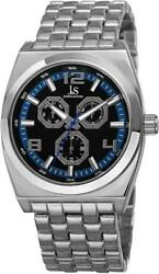 Joshua And Sons Js93bu Day Date Gmt Blue Accented Dial Silvertone Mens Watch