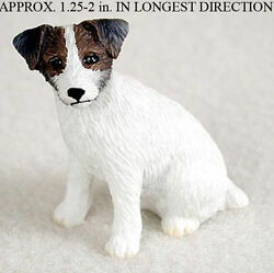 Jack Russell Terrier Mini Resin Hand Painted Dog Figurine Statue BrwnWht Rough