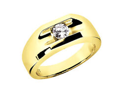 Natural 3/4ct Round Solitaire Mens Wedding Ring 18k Yellow Gold F Vs2 Channel