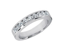 1.40ct Round Cut Mens Wedding Band Ring 18k White Gold F Vs2 Channel Setting