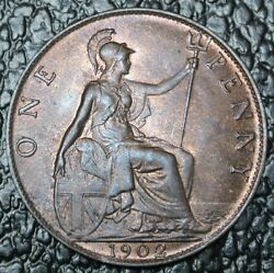 1902 Great Britain - One Penny - Edward Vii - Nice Coin