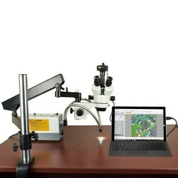 2.1x-270x 14mp Digital Zoom Stereo Articulating Microscope 150w Ring+dual Lights