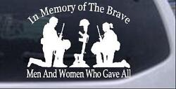 In Memory Brave Men And Women Who Gave All Car Truck Window Decal Sticker