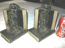 Antique King Charles Spaniel Ronson Usa Dog Art Statue Sculpture Bookends Asian