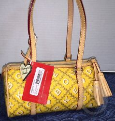 New With Tags Authentic Dooney And Bourke Crossword Barrel Yellowshoulder Bag