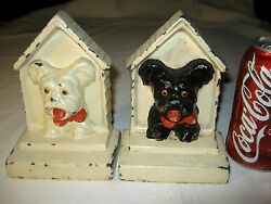 ANTIQUE HUBLEY USA SCOTTISH TERRIER TOY DOG CAST IRON HOUSE ART BOOK BOOKENDS US