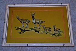Mountain Goats Family Of 4 On Rocky Cliff Original Color Pencil Framed Polayes