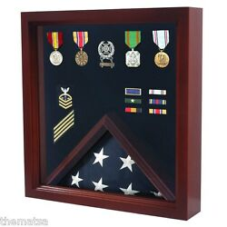 Usa Made Solid Wood Cherry Finish Military Flag Medal Display Case Shadow Box