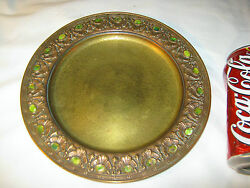 Antique Studios Ny Usa Gold Bronze Favrile Art Plate Wall Charger Lct Ct