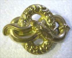A Fine Antique Pinch -brooch With A Pattern Of Snake And Flowers