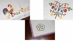 Easter Eggs Red Blue Crochet And Roosters Egg Tree Vtg German Tablecloth Lot Of 2