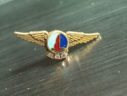 Eastern Airlines Wings Pin, 3 Diamond 10k Solid 10k Gold Eal Service Award Pin