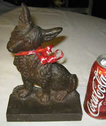 ANTIQUE B&H BRADLEY HUBBARD CAST IRON CAIRN TERRIER TOTO DOG ART STATUE DOORSTOP