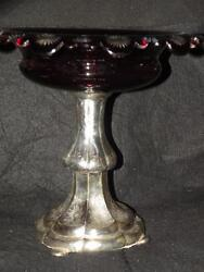 Antique German Hamburg Art Glass Ruby Cut To Clear Compote Coin Silver Bohemian