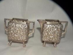 Antique Sterling Repousse Sugar And Creamer Peter L Krider 1870-1903 J E Caldwell