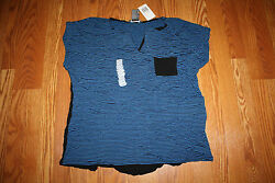 NWT Womens CHELSEA & THEODORE Blue Black Striped Open V-Neck Tee Shirt L Large