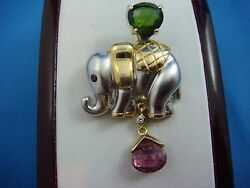 Incredible 18k Two Tone Gold Elephant Brooch With Green And Pink Tourmaline
