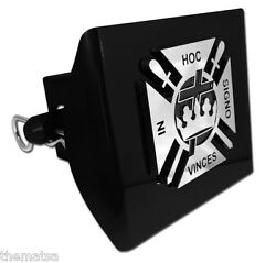 Knights Templar Logo Chrome And Black Decal Usa Made Plastic Trailer Hitch Cover