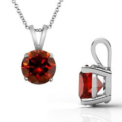2.5 Carat Red Diamond Solitaire Pendant Necklace + 18