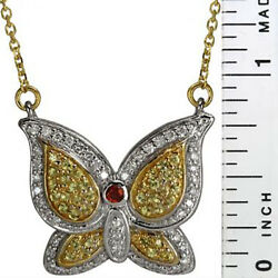 Vintage Large Butterfly Pendant Pave Diamond And Sapphires 14k White Gold