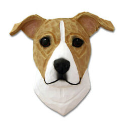 Am.Staffordshire Terrier Head Plaque Figurine FawnWhite Uncropped