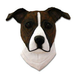 Am.Staffordshire Terrier Head Plaque Figurine Brindle White Uncropped