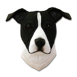 Am.Staffordshire Terrier Head Plaque Figurine BlackWhite Uncropped