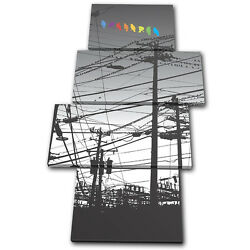 Abstract City Colour Birds Wires Multi Toile Murale Art Photo Print