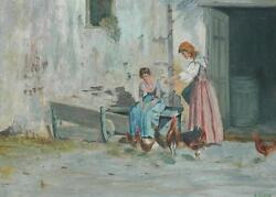 Beautiful Vintage Oil On Masonite Of Two Village Women W/ Chickens By R. Geiger
